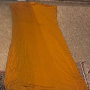 Mustard strapless skater dress